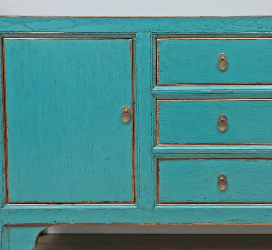 Chinese dresser sideboard 2 doors 3 drawers turquoise