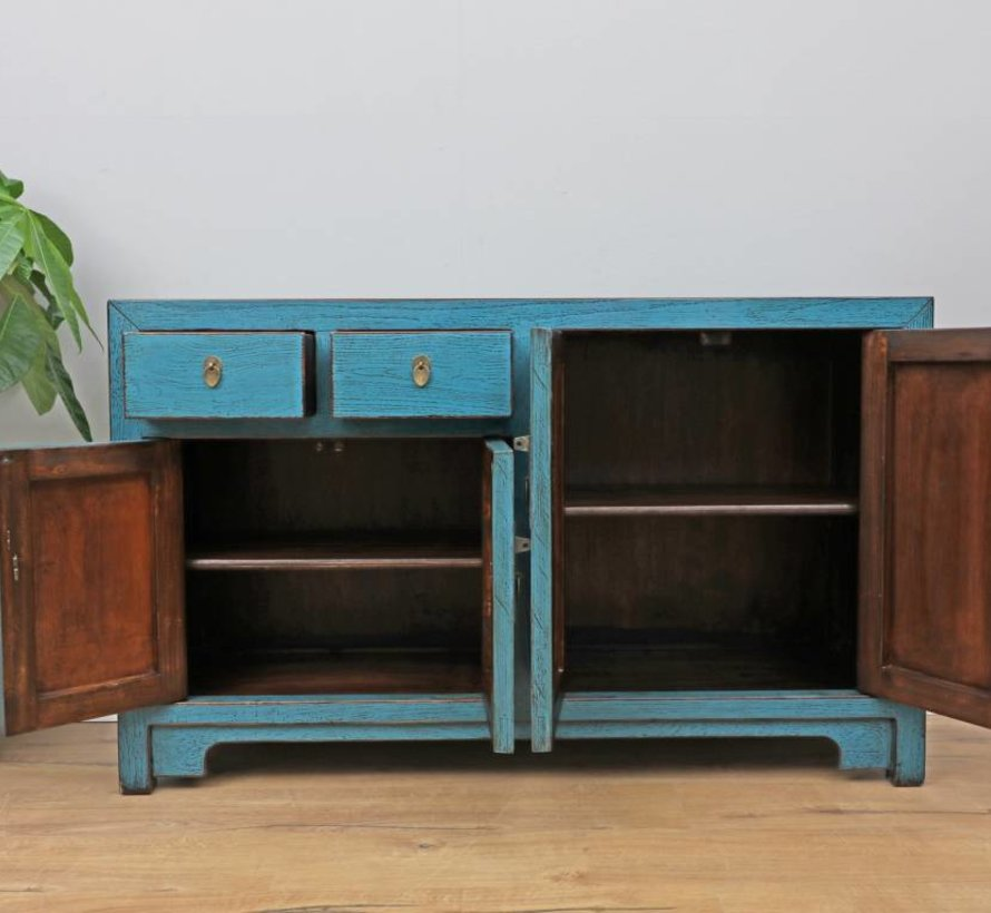 Antique sideboard TV table dresser 4 doors and 2 drawers blue
