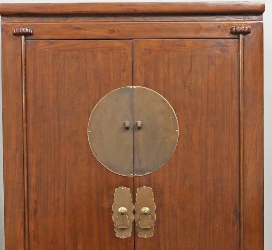 Chinesischer Hochzeitsschrank 2 Türen 2 Schubladen braun
