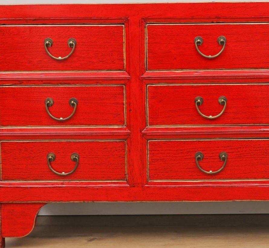 chinesische Kommode Sideboard 9 Schubladen rot