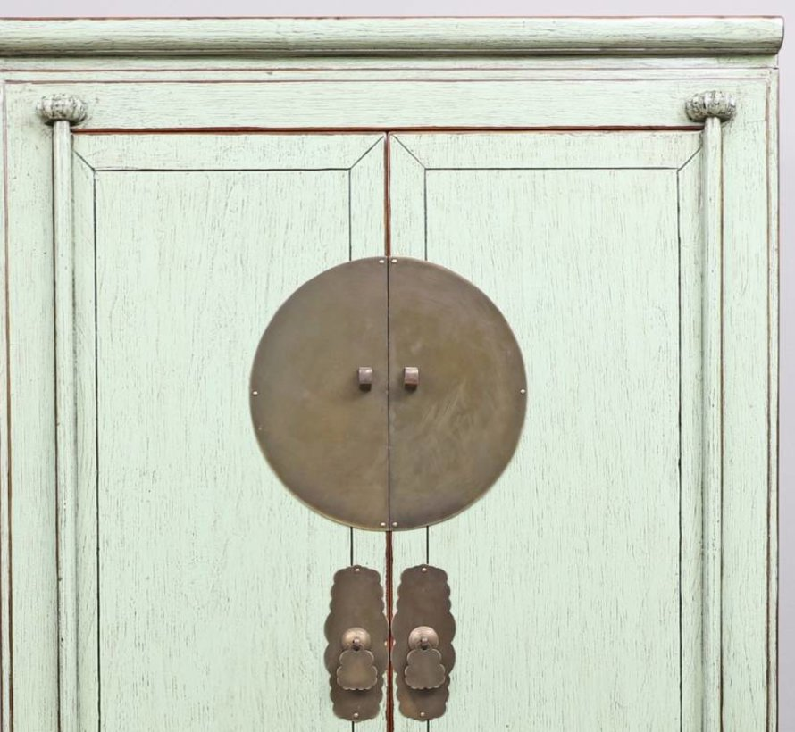 Chinese wedding cupboard 2 doors 2 drawers mint solid wood
