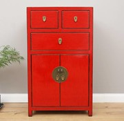 Yajutang Chinese chest of drawers 3 drawers 2 doors red