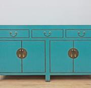 Yajutang Chinese sideboard 4 doors 3 drawers turquoise