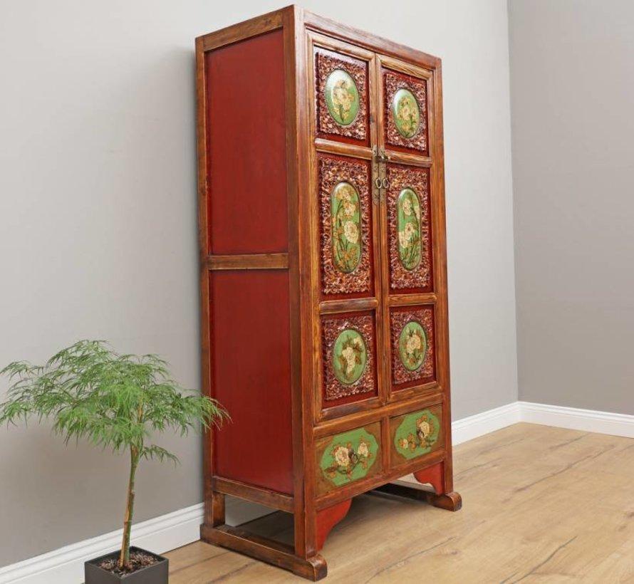 Chinesischer Hochzeitsschrank 2 Türen 2 Schubladen Blumen