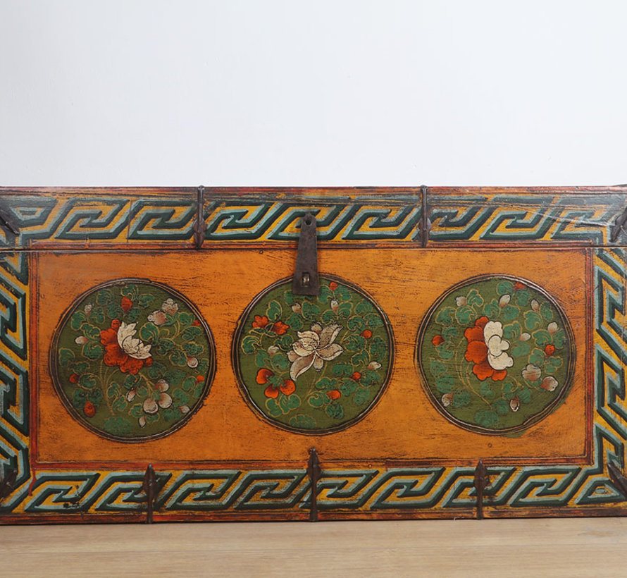Tibetan chest  with beautiful hand-painted floral motif