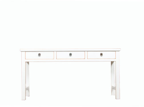 Yajutang console table white natural wood edges