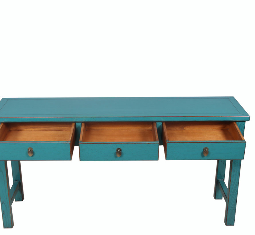console table turquoise with natural wood edging 3 drawers