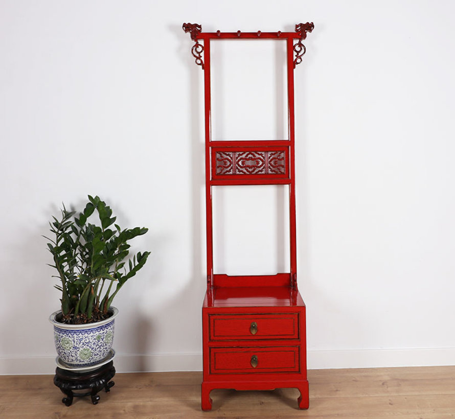 Kleiderständer Regal aus China 2 Schubladen rot