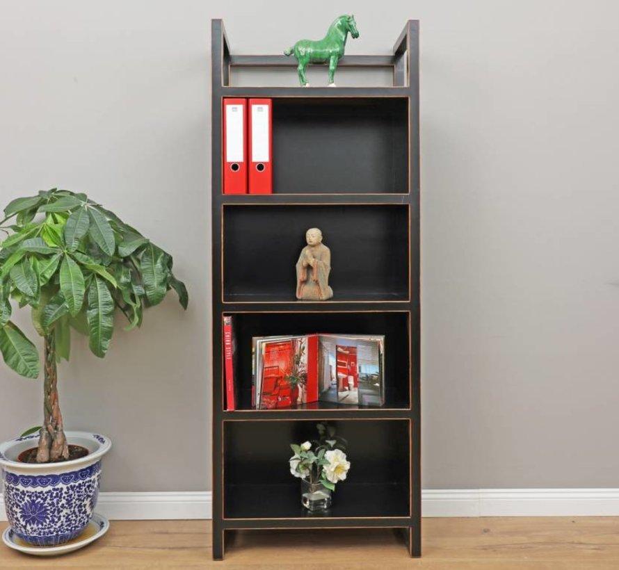 Chinese shelf bookshelf solid wood black
