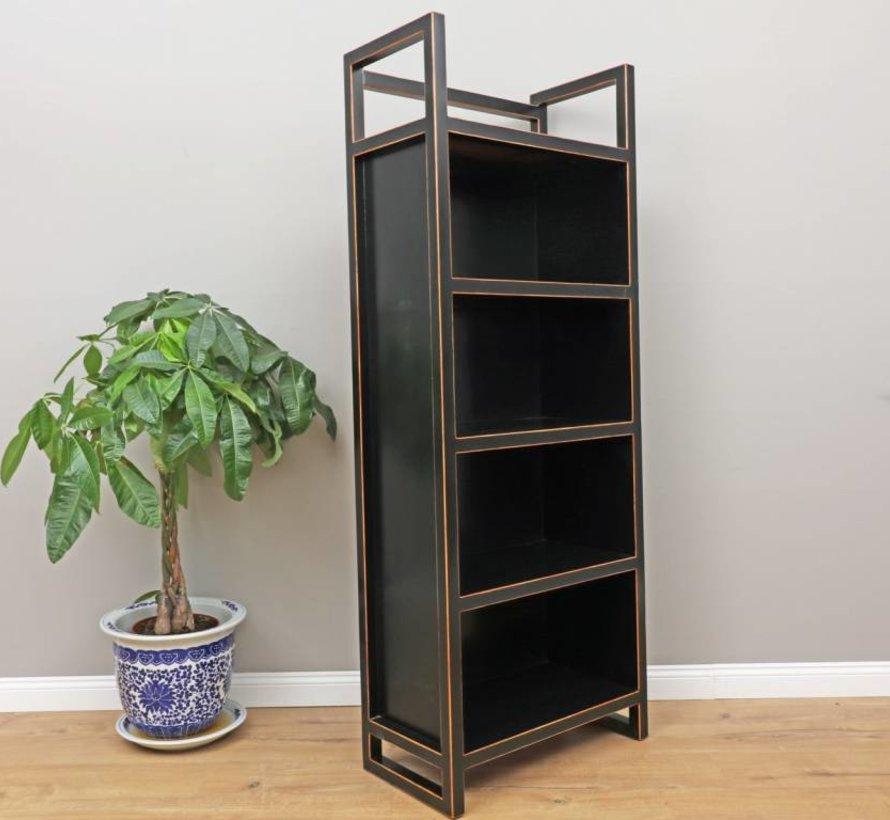 chinesisches Regal Bücherregal Massivholz schwarz