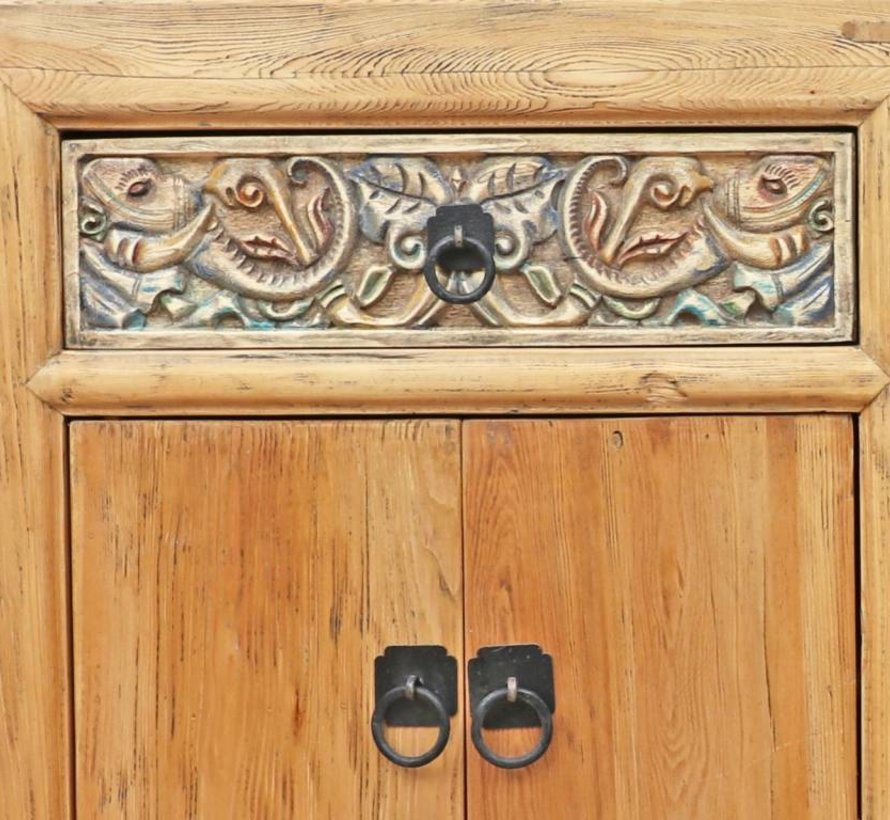 Chinese chest of drawers sideboard 4 doors 2 drawers with carving