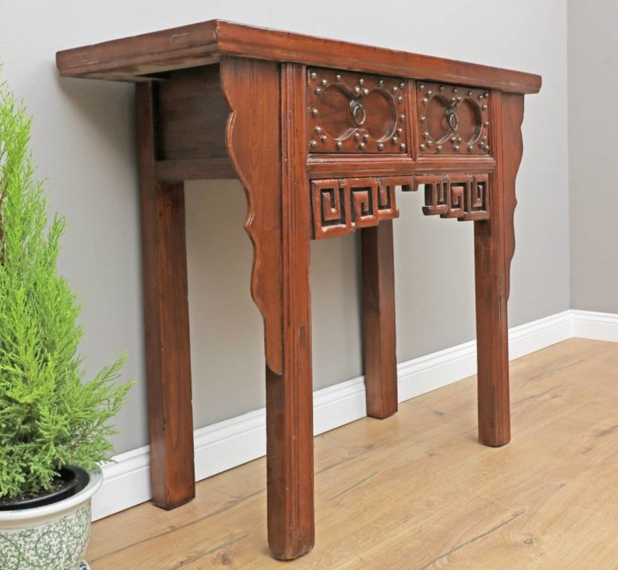 Antique Chinese dresser sideboard 2 drawers with carving