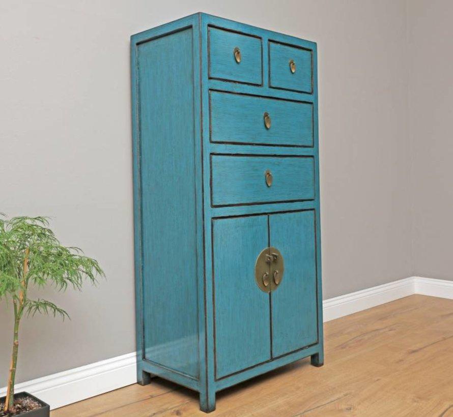 chinesische Kommode Sideboard 4 Schubladen 2 Türen blau
