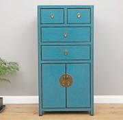 Yajutang Chinese chest of drawers 4 drawers 2 doors blue