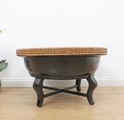 Yajutang Alter runder Tisch Bambusgeflecht schwarz