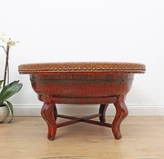 Yajutang Alter runder Tisch Bambusgeflecht rot