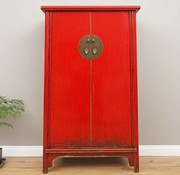 Yajutang Chinesischer Hochzeitschrank 2 Türen rot