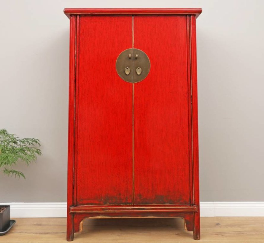 Chinese wedding cupboard 2 doors red solid wood
