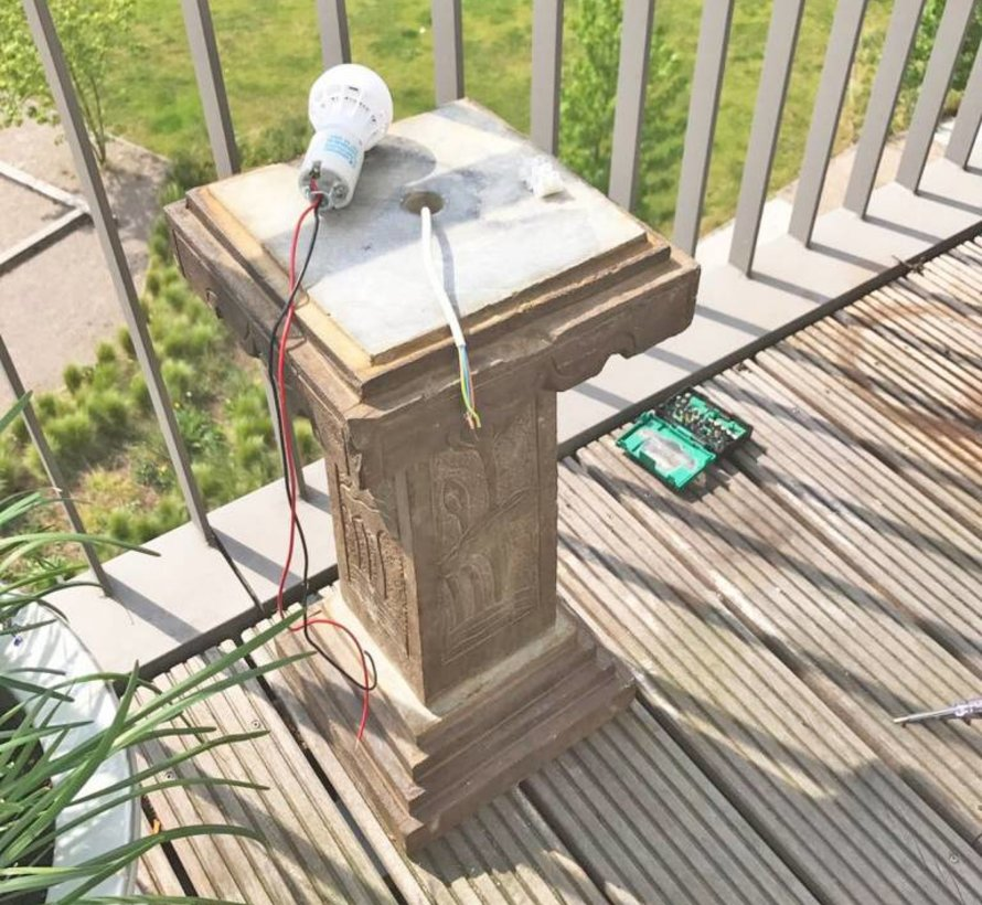 Stone stone lantern made of natural stone with Lotusmotiv for balcony and garden