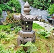 Yajutang Steinlaterne aus Naturstein mit sechseck Dach
