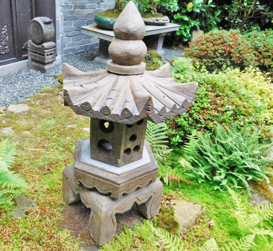 Stone stone lantern made of natural stone with hexagonal roof for balcony and garden