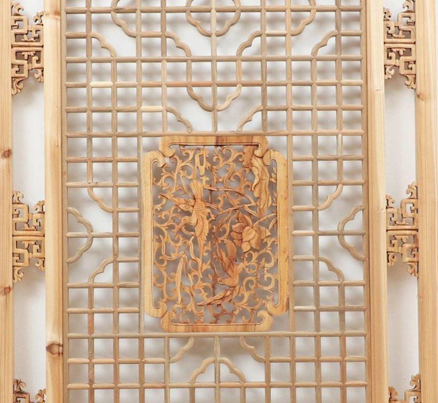 Chinesischer Wandschmuck, geometrische & florale Holzschnitzereien