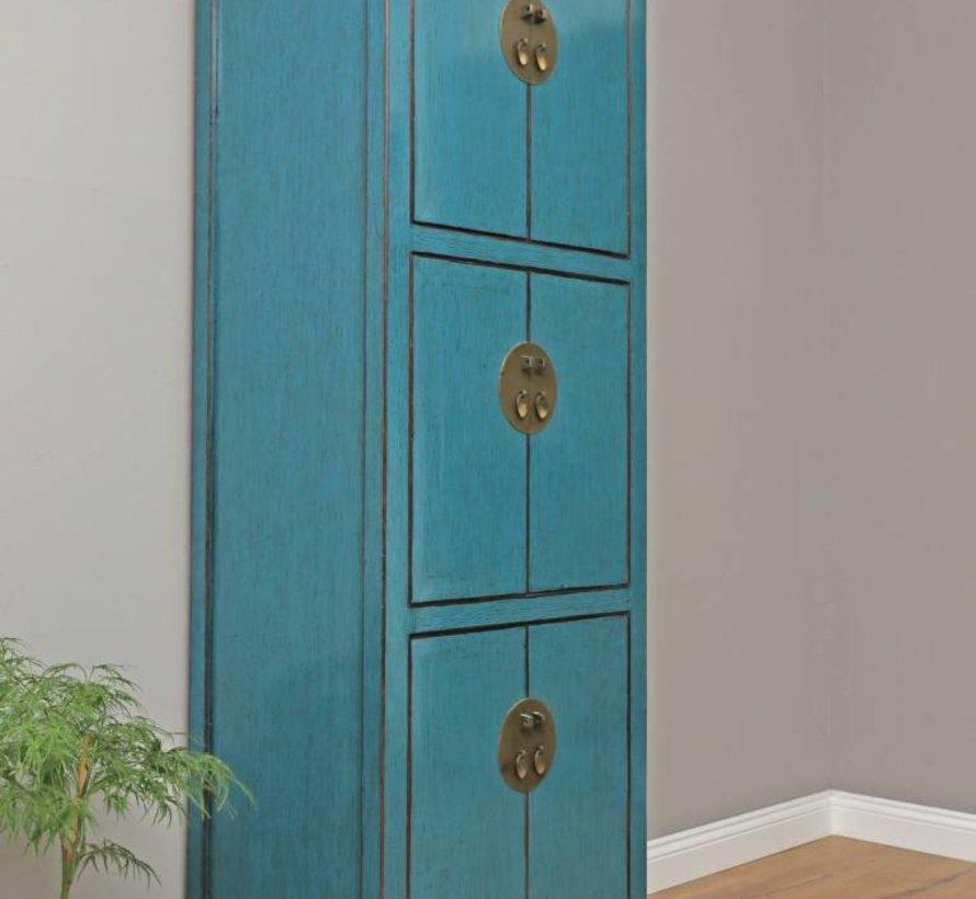 Chinesischer Hochzeitsschrank 6 Türen blau Massivholz