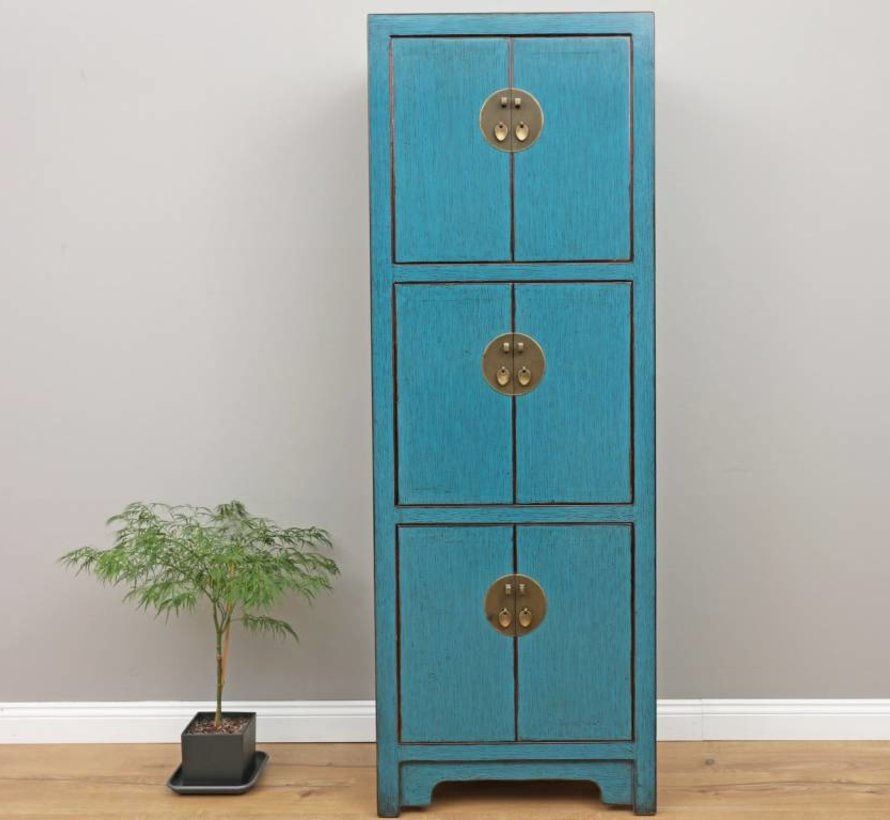 Chinese wedding cabinet 6 doors blue solid wood