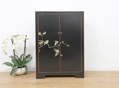 Yajutang Shoe cabinet hand-painted pattern black