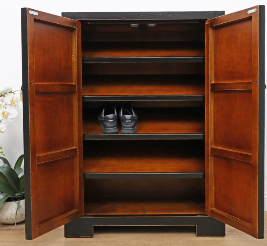 Shoe cabinet  hand-painted pattern in black
