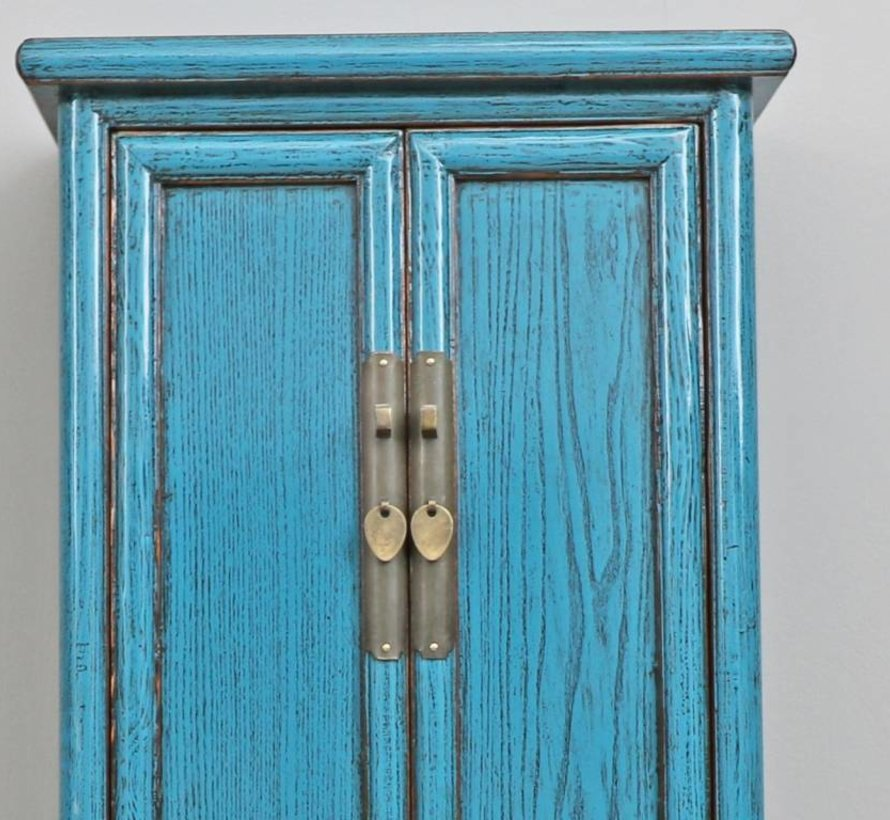 Chinese wedding cabinet solid wood blue  doors