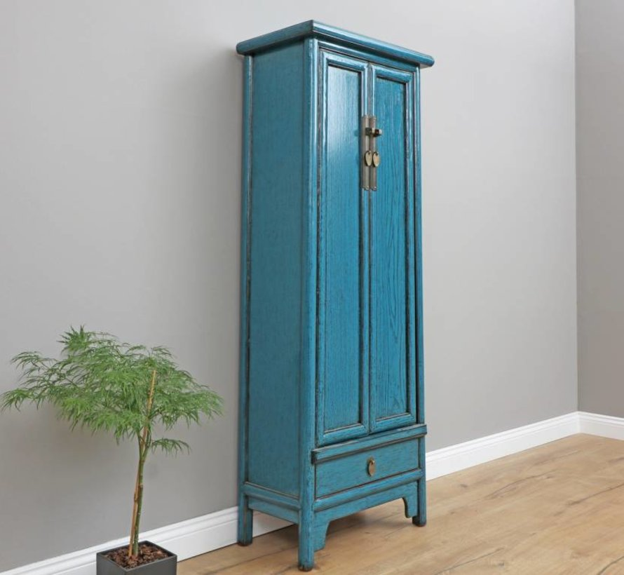 Chinesische Hochzeitschrank Massivholz blau