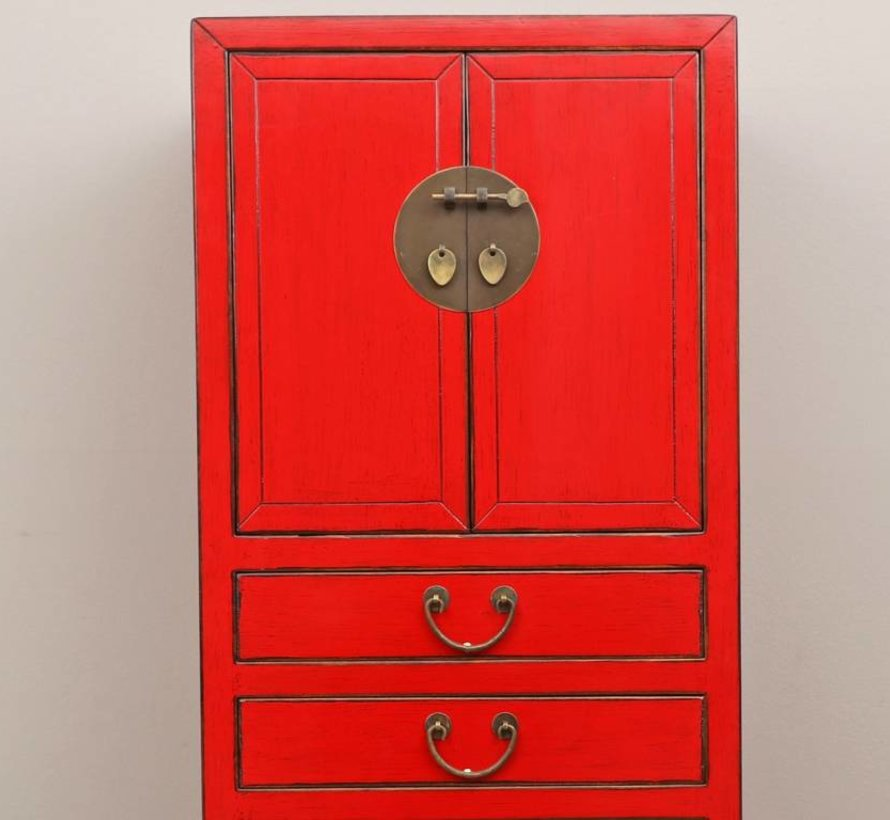 Chinese wedding cupboard 4 doors 3 drawers red