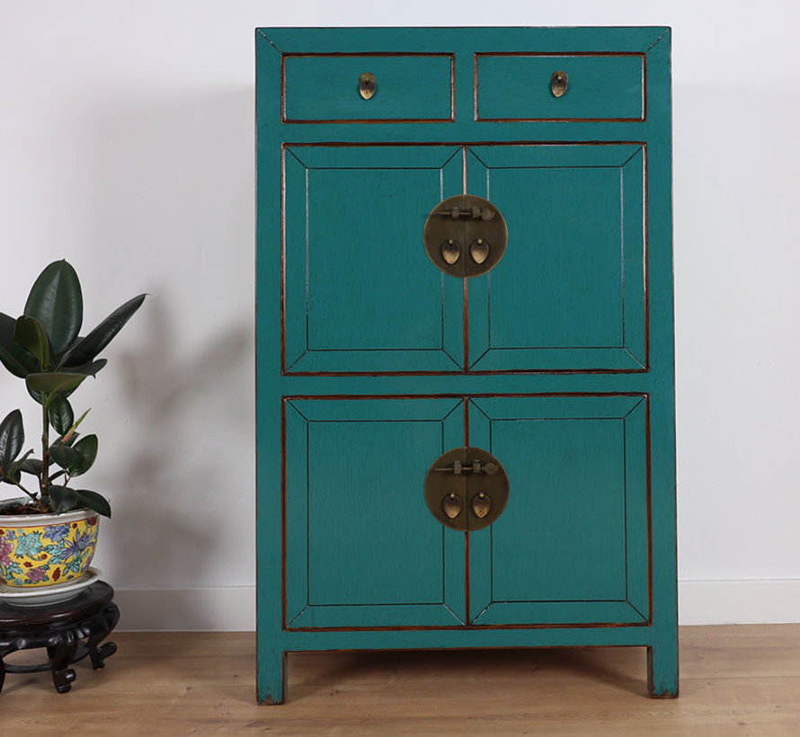Chinese dresser wedding cabinet cabinet solid wood  turquoise