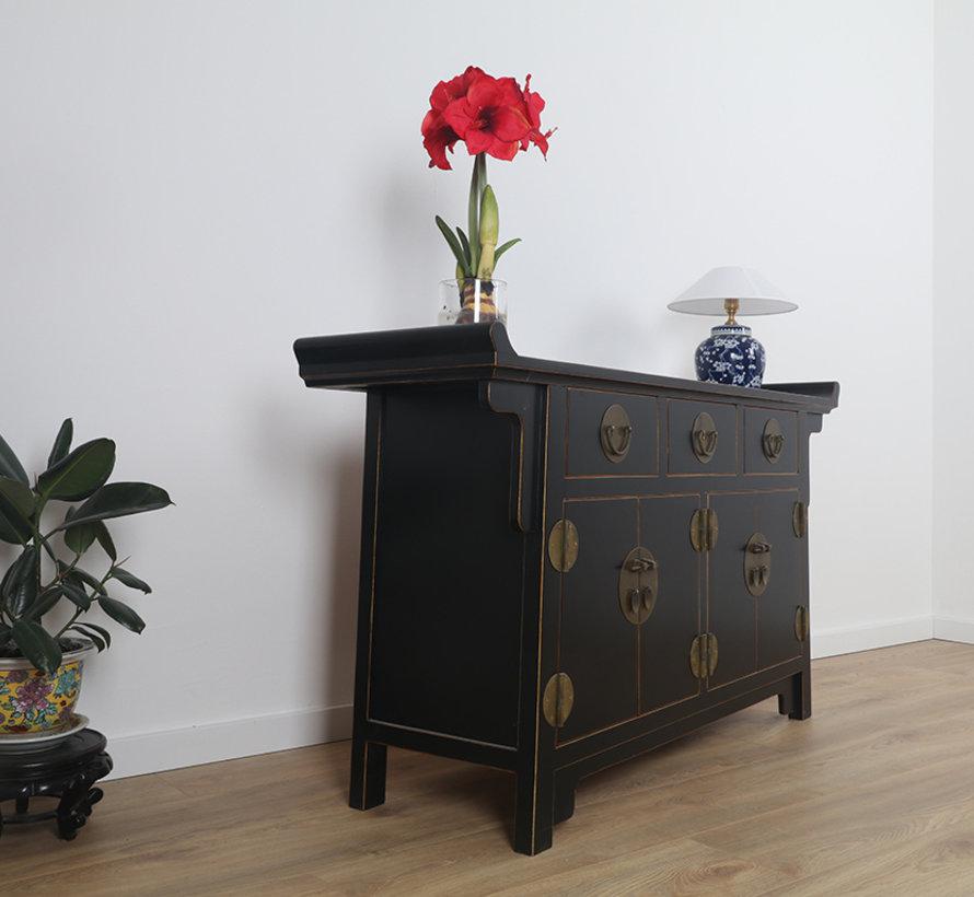 chinesische Altarsideboard 4 Türen 3 Schubladen schwarz