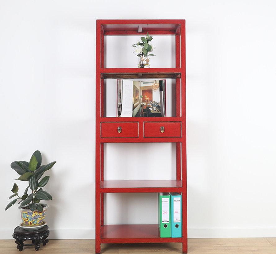 Shelf dresser cabinet solid wood 2 drawers red