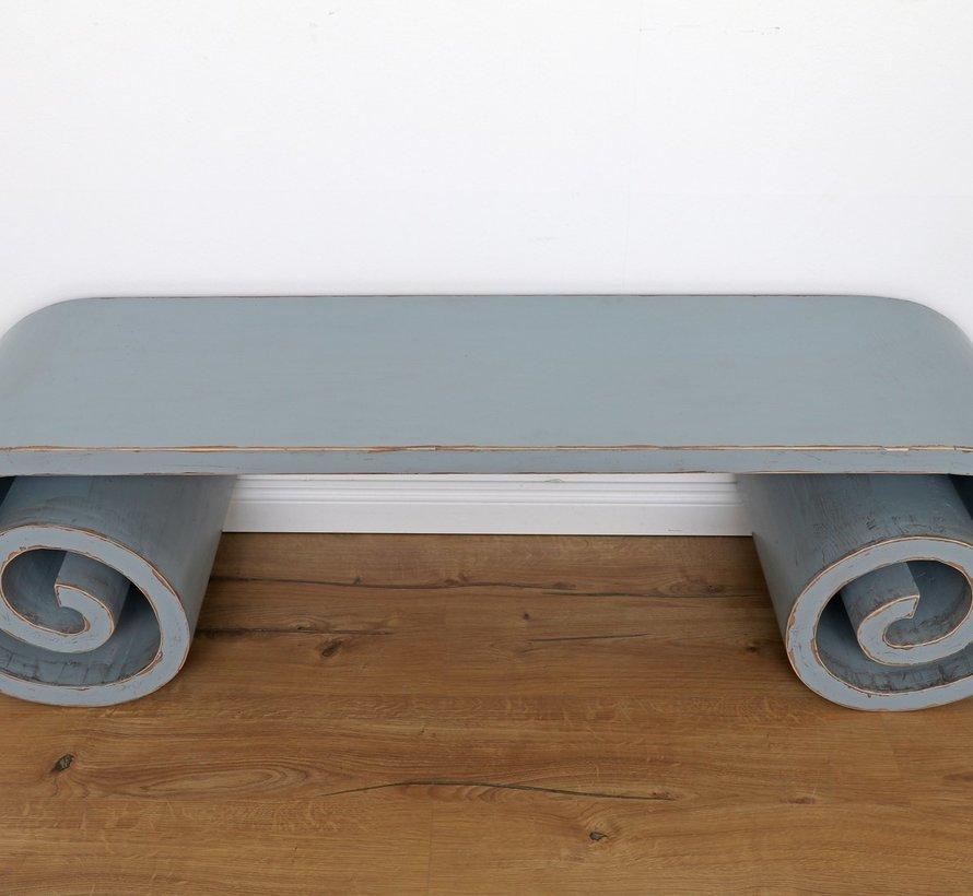 Chinesischer Tisch Massivholz China Schneckentisch Teetisch grau