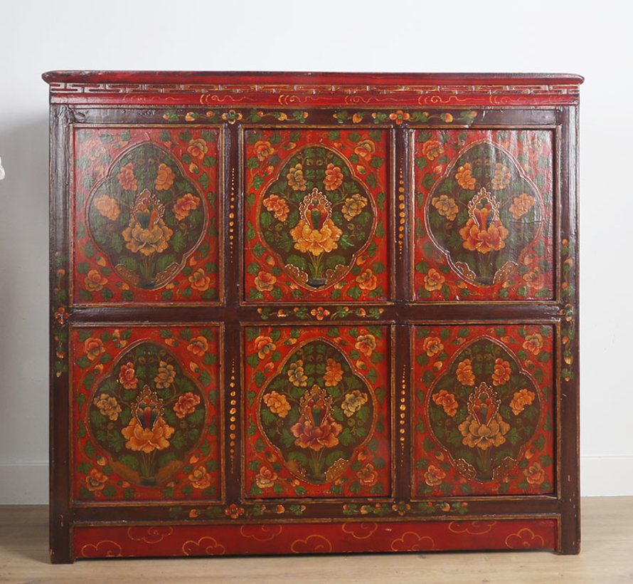 Tibetan chest of drawers with beautiful hand-painted floral motif