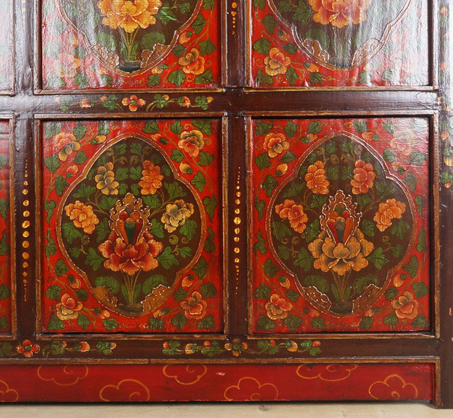 Tibetische  Kommode mit wunderschönem handbemaltem Blumenmotiv