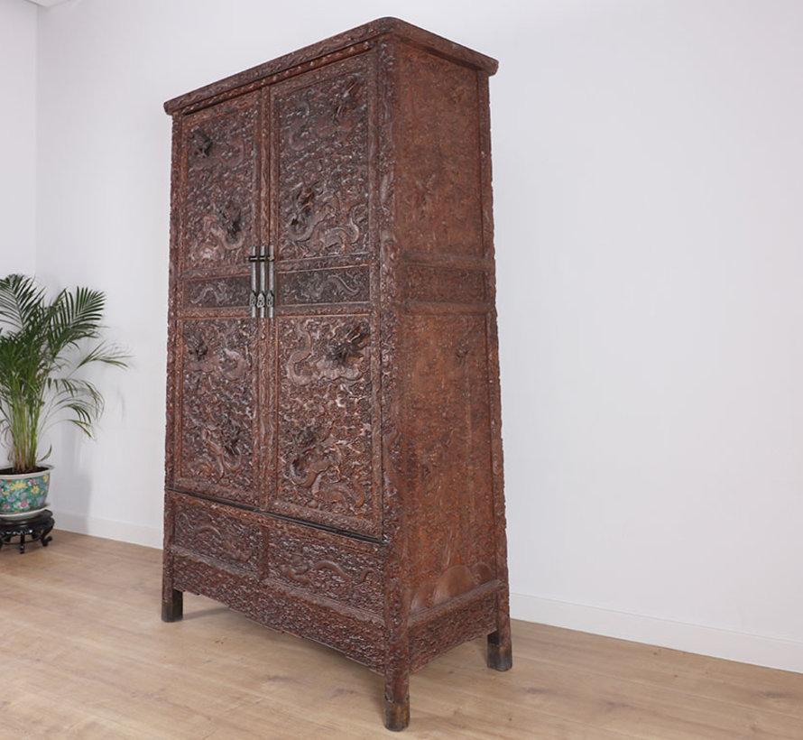 Antiker Hochzeitsschrank aus China 2 Türen Drachen schnitzen