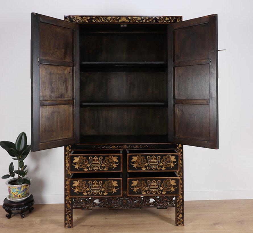 Chinese wedding cabinet black bemalt
