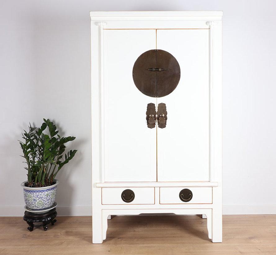 Chinese wedding cabinet 2 doors 2 drawers white