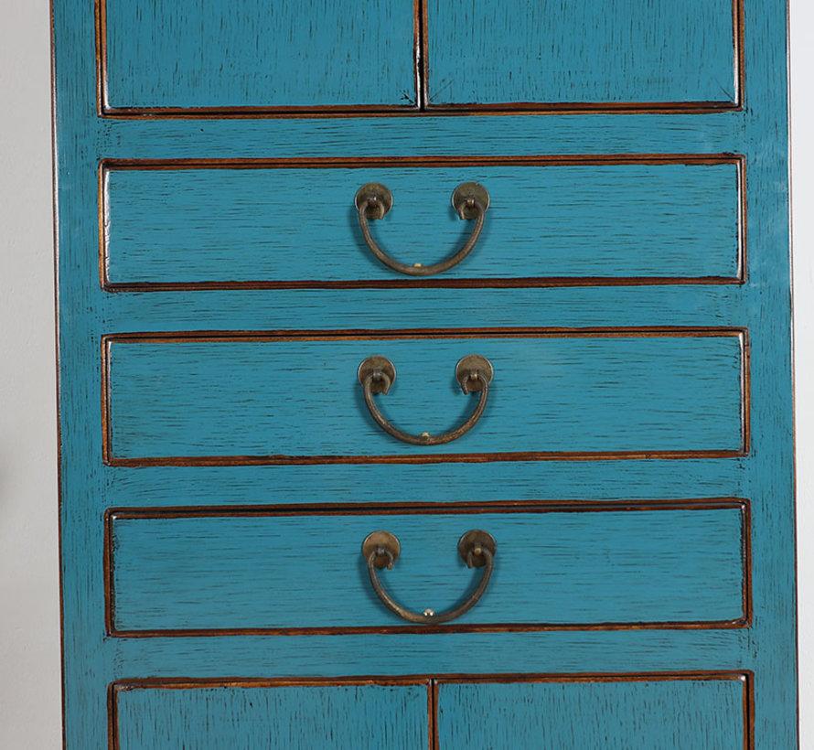 Chinesischer Hochzeitsschrank 4 Türen 3 Schubladen Massivholz blau