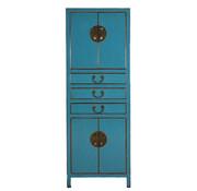 Yajutang Hochzeitsschrank 4 Türen 3 Schubladen blau