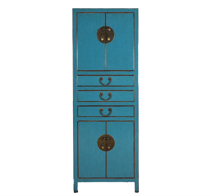 Chinese wedding cupboard 4 doors 3 drawers solid wood blue