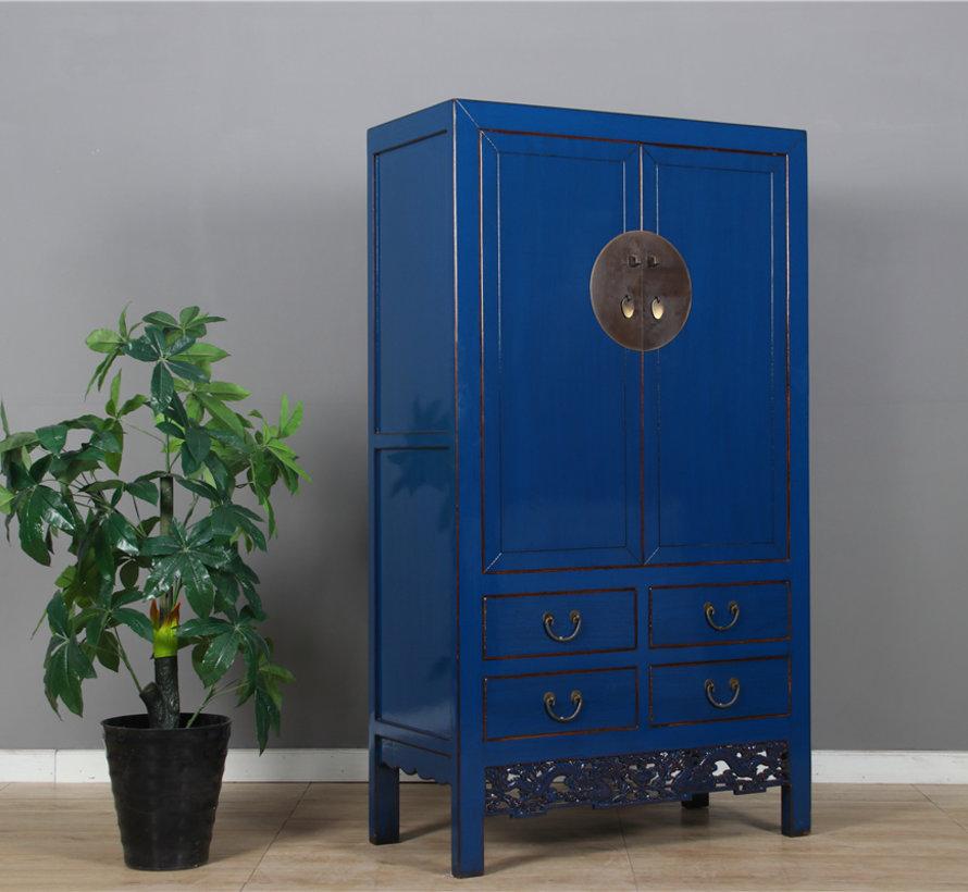 Chinesischer Hochzeitsschrank 2 Türen 4 Schubladen blau
