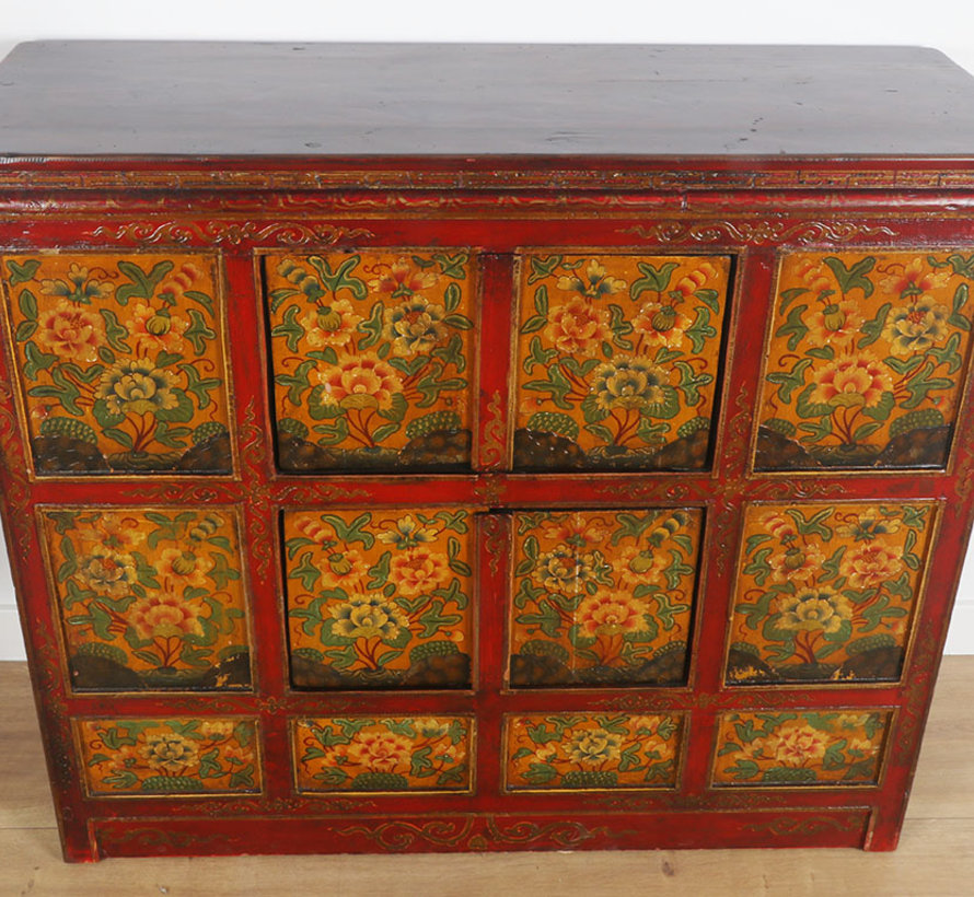 Tibetan chest of drawers with beautiful hand-painted floral motif.