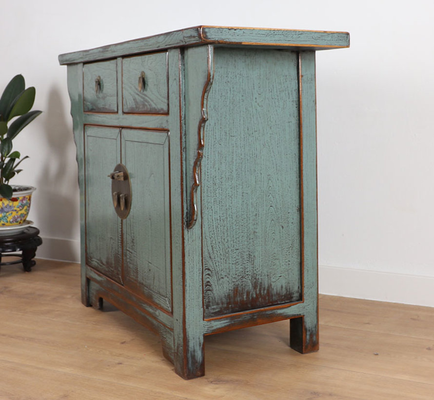 Antique Chinese dresser sideboard 2 doors 2 drawers grey
