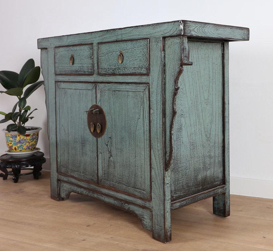 Antike chinesische Kommode 2 Türen 2 Schubladen grau