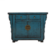 Yajutang Antike Kommode 2 Türen 2 Schubladen blau